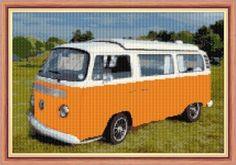 "VW Camper Van / Bus, Sunny Orange - 16 Count Cross Stitch - 12"" x 8"""