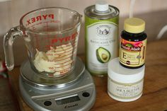 Eczema Fighting Lotion:  *Pictures are from the original blog I received the recipe from, found here  Ingredients:  2 oz. Shea Butter .45 oz Avocado Oil (13.3 ml) 4 Vitamin E tablets (or .025 oz) -carefully puncture the tablet & pinch to drain the oil completely