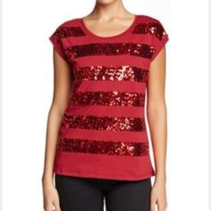 NWT's red sequin front top. NWT's red sequin front scoop neck  top.  Approx 28 inch length. 100% cotton. Tops