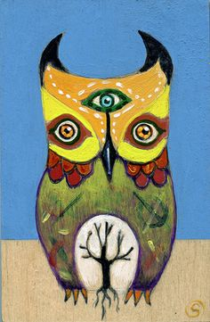 """Owl"" - 4"" x 6"" mixed media on birch ply - by artist Sarah Stone - SOLD"
