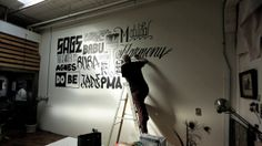 Mike Giant X DesmondSF by Sean Desmond. A video of Mike Giant doing a mural at the office of filmmaker and photographer Sean Desmond. Mike Giant, Art Bin, Handwritten Type, Chalkboard Lettering, Hand Drawn Type, Painted Letters, Artist Gallery, Corporate Design, Graphic Design Typography