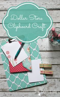 Dollar Store Clipboard Craft - transform an inexpensive dollar store clipboard with this simple craft tutorial from The Crazy Craft Lady. Dollar Store Crafts, Diy Crafts To Sell, Dollar Stores, Easy Crafts, Crafts For Kids, Cool Diy Projects, Craft Projects, Craft Ideas, Project Ideas
