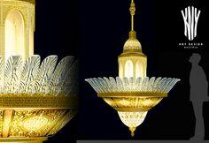 Decorative Chandelier, Gold Chandelier, Swarovski, Gold Glass, Led, Handmade Decorations, Frosted Glass, Luster, Ceiling Lights