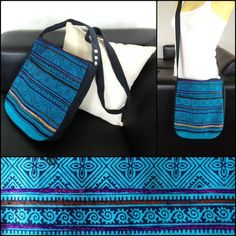 Handmade Messenger Bag Crossbody Bag Blue fabric by KhumWiengKham, $19.88