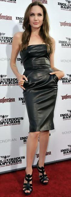 09fec7418bbf Angelina Jolie Wearing Michael Kors Clothing Designer Leather Dress Autumn  Winter 2009 2010 pictures Inglourious Basterds