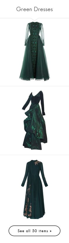 """Green Dresses"" by delta14o6 on Polyvore featuring dresses, gowns, long dresses, valentino, green, emerald, a line dress, green evening gown, long sleeve gowns and green dress"