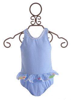 Funtasia Too Girls One Piece Swimsuit Blue with Whales