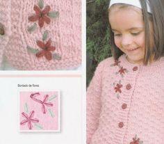 patrones y paso a paso de saco para nena de 8 años Baby Knitting Patterns, Knitting For Kids, Crochet For Kids, Crochet Baby, Knit Crochet, Crochet Patterns, Baby Sweaters, Girls Sweaters, Baby Pullover