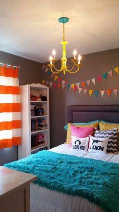 Teen bedroom  orange aqua pink yellow gray