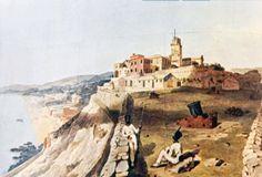 San Pier d'Arena vista dall'altura della collina di San Benigno in un dipinto di Enry Parker del 1820