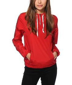 Zine Red Pullover Windbreaker Jacket