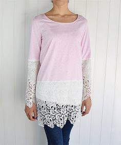 This Dust Pink & Ivory Lace-Overlay Tunic by éloges is perfect! #zulilyfinds