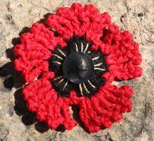 a simple crocheted poppy