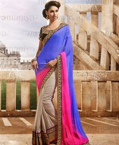 Picture of Alluring Blue And Off White & Pink Georgette Saree