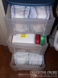 Ooh- good idea Great way to hide a way diapers and baby cleaning table stuff! You could even modge podge scrapbook paper to the front of the drawers and hide the stuff even more. This will be good organization for future babies The Babys, Baby On The Way, Our Baby, Baby Baby, Baby Storage, Storage Ideas, Diaper Storage, Nursery Storage, Everything Baby