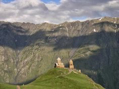 Near the village of Gergeti, outside the town of Stephantsminda, in Georgia, lies the isolated Gergeti Trinity Church. Also called the Holy Trinity Church, it sits on top of a mountain near Mount Kazbeg