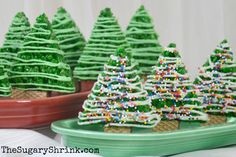 Rice Krispie Christmas Trees presented on Fiesta® Bread/Utility Trays | The Sugary Shrink & Fiesta® Christmas Tree Garland Dinner Plate made by Homer Laughlin ...