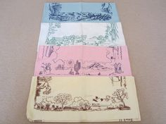 RARE SET Mid Century Vintage Towels Seasons COMPLETE by NeatoKeen, $120.00