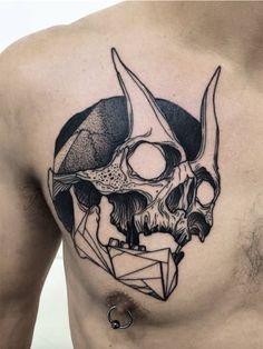 Horned skull chest tattoo #TattooModels #tattoo