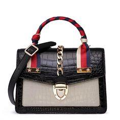 Designer Alligator Skin Shoulder Handbags Crossbody Bags with Gold Hardware-Black Unique Handbags, Popular Handbags, Purses And Handbags, Leather Handbags, Luxury Handbags, Cheap Handbags, Luxury Bags, Leather Bags, Bvlgari Handbags