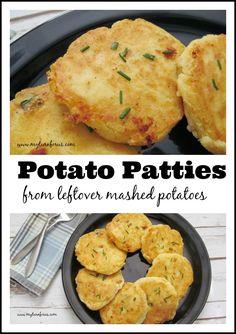 Potato Patties from leftover mashed potatoes! http://www.myturnforus.com/2014/11/potato-patties.html