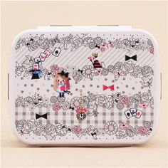 black white Alice in Wonderland Bento Box Lunch Box from Japan 2
