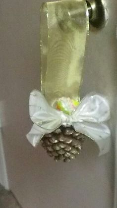 Pine Cone & Ribbon Decorated Door Knob Hanger