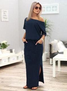 c6d0d6175fa Fashion Women s Half Sleeve Side Slit Round Neck Maxi Dress