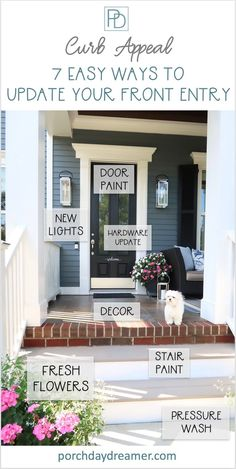 Looking to update your curb appeal on a budget? Here are simple and easy ways to update your home's front entry for major curb appeal. Before and after of my front entry and the projects I tackled! | Porch Daydreamer Br House, House Front, Balcony House, Curb Appeal Porch, Indoor Outdoor, Outdoor Gardens, Indoor Plants, Outdoor Decor, Front Porch Makeover