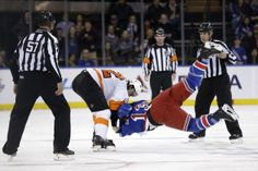 While referees look on as Philadelphia Flyers' Luke Schenn, left, throws New York Rangers' Daniel Carcillo Hockey Teams, Ice Hockey, Sports Teams, Nhl, Slap Shot, Philadelphia Flyers, Referee, National Hockey League