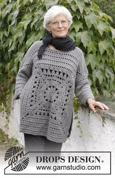 Magic Square / DROPS 181-31 - Crochet jumper with crochet square and lace pattern. Sizes S - XXXL. The piece is worked in DROPS Nepal.
