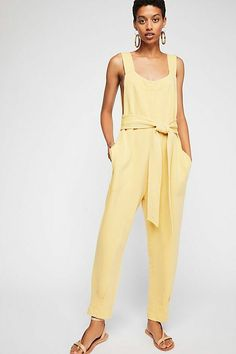 7d8ec1ea328 4963 New  168 Free People Many Moons Jumper Sleeveless Yellow Romper  Jumpsuit XS  fashion
