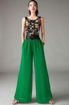 Pantalona Eg- Modelo Importado Calça Feminina Verde Elegante - R$ 129,00
