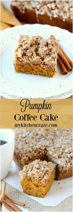 Pumpkin Coffee Cake - Delicious and moist, this Pumpkin Coffee Cake will have everyone running back for another slice. Pumpkin Recipes, Fall Recipes, Holiday Recipes, Fall Desserts, Just Desserts, Dessert Recipes, Pumpkin Coffee Cakes, Pumpkin Dessert, Fall Baking