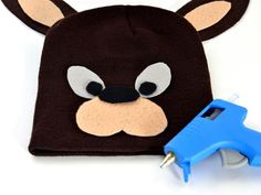Cute kangaroo hat- wear brown shirt tie on pouch or vest with pouch