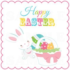 Happy Easter Bunny with egg basket Cute Kids by TheLovelyMemories, $5.00