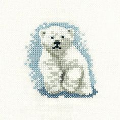 Polar Bear Cub – Little Friends Cross Stitch Kit By Heritage Crafts