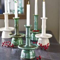 Ceramic Asian Candlesticks - Emerald - New in November 2012 from Wisteria on shop.CatalogSpree.com, my personal digital mall.