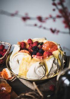 Winter Pavlova with Meyer Lemon Curd { gluten-free, dairy-free }