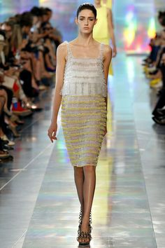 christopher kane yellow white tank dress sleevless fringe frill spring 2013 http://cococozy.com