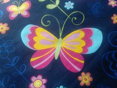 Butterfly Print Fabric, Indian Poly Cotton Heavy Material, Broadcloth Extra Wide Fabric