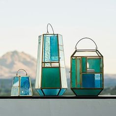 "Paneled Glass Lanterns, $24-$89, West Elm ""I always end up choosing blues and greens, especially bright ones, because it makes me think of spring, it's always welcoming, it makes me feel happy."" --Joanna Carden"