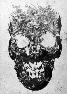 skull made up of wildflowers