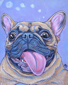 "Olive the French Bulldog Dog Custom Pet Portrait Painting in Acrylics on 8"" x 8"" Stretched Canvas from Pet Portraits by Bethany."