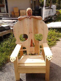 SKULL CHAIR  ADIRONDACK chair yard furniture  by Emmanddoubleyas, $99.00