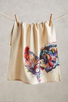 Rooster Tea Towel Art by Starla Halfmann #anthropologie