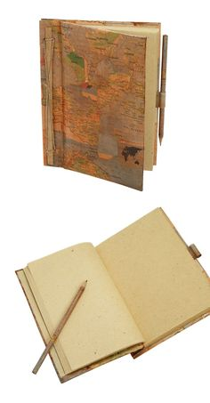 Real recycled maps make up the cover of this journal.  Pencil Included! - Fair Trade Gifts - Gift for travelers