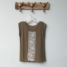 Tan Lace Strip Tank Gorgeous tank and doesn't have any rips or stains. My name is stamped in the inner collar Anthropologie Tops Tank Tops