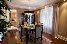 Model Home: Dining Room--area rug size guidelines