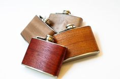 Holiday Gift for Men - Real Mahogany Wood Flask Hand-cut - CUSTOMIZE & PERSONALIZE with Typewriter Engraving by ResoluteStar